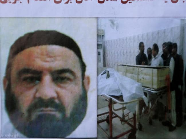 An Afghan newspaper headlines pictures of the former leader of the Afghan Taliban, Mullah Akhtar Mansoor, who was killed in a US drone strike last week, in Kabul, Afghanistan. Picture: AP