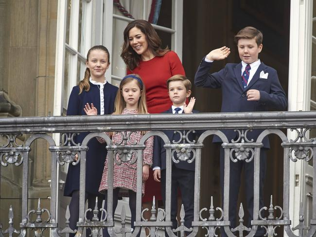 Princess Mary and family at the 78th birthday celebrations of Queen Margethe at Amalienborg castle, Copenhagen. Picture: Mega