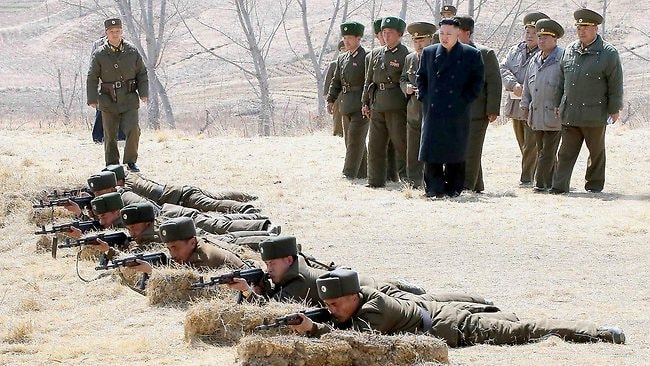 North Korean leader Kim Jong-Un inspecting the second battalion under Korth Korean army Unit 1973 at an undisclosed location.