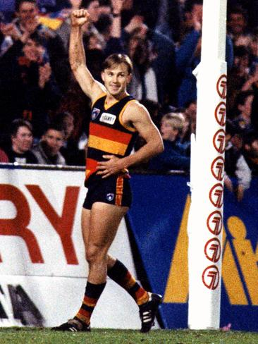 Modra celebrates a goal against Richmond at Football Park in 1993.