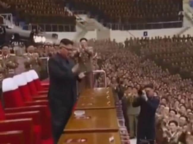 Kim Jong Un was about North Korea created a video showing the US being devastated by its missiles as part of its founding leader's birthday celebrations. Picture: KCNA news agency/Reuters