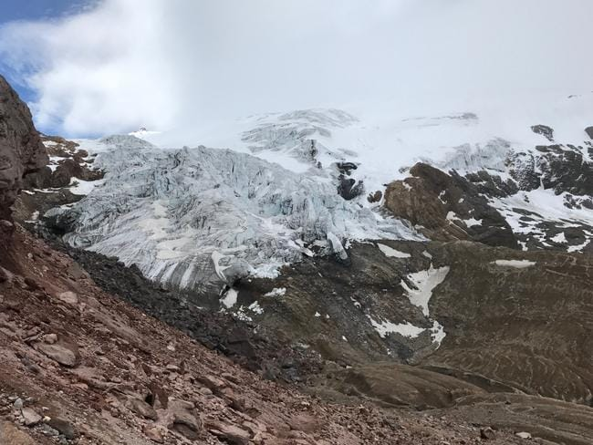 Once there were glaciers on 25 mountains near the Equator, but this has reduced to just 21. Source: Tim Jarvis/25 zero.
