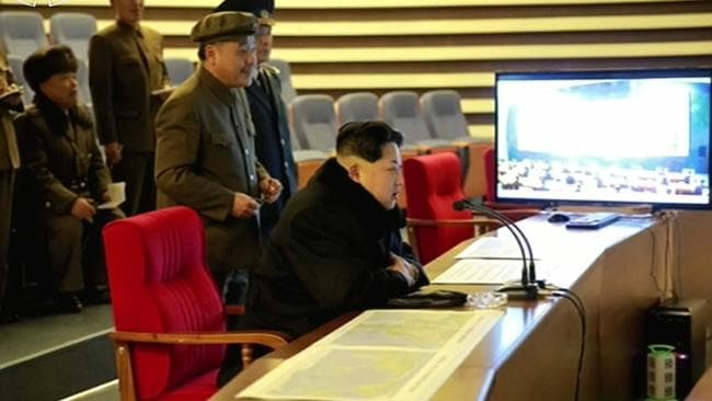 Kim Jong-Un attends the 'successful' rocket launch. Picture: AFP/ North Korean TV