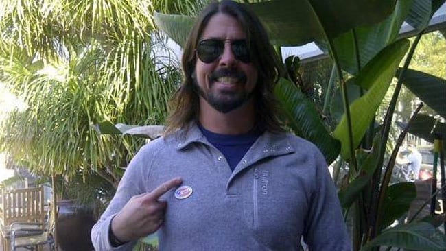 Dave Grohl with his I Voted badge. Pic, via Facebook