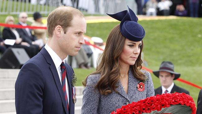 The Duke and Duchess of Cambridge lay a wreath in front of the Australian War Memorial at the Anzac Day National ceremony in Canberra today.
