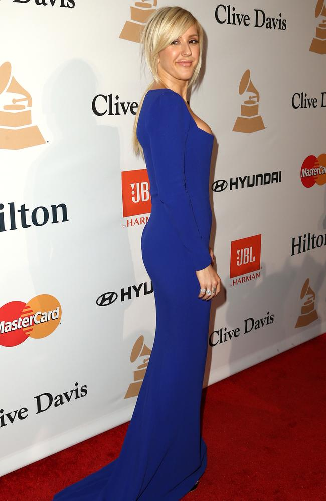 Ellie Goulding arrives at the 2016 pre-Gramys ball. Picture: AP