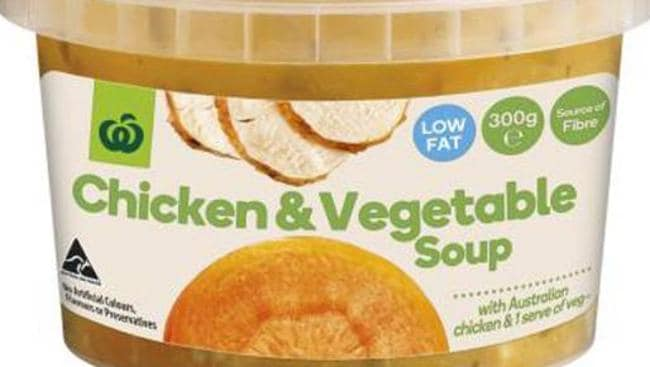 Woolworths chicken & vegetable soup.