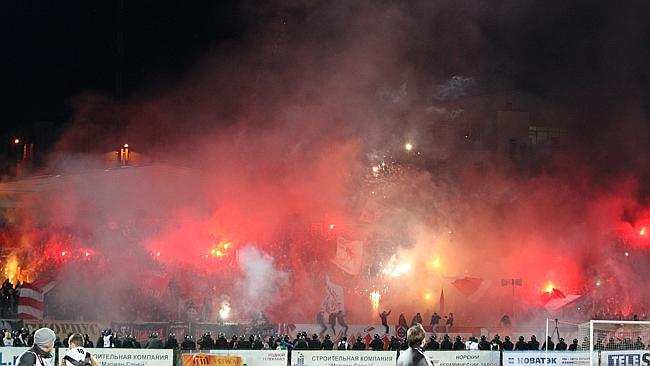 About 30 football fans were detained in the Russian city of Yaroslavl after the stadium riot. Picture: AP Photo/Alexander Mysyakin