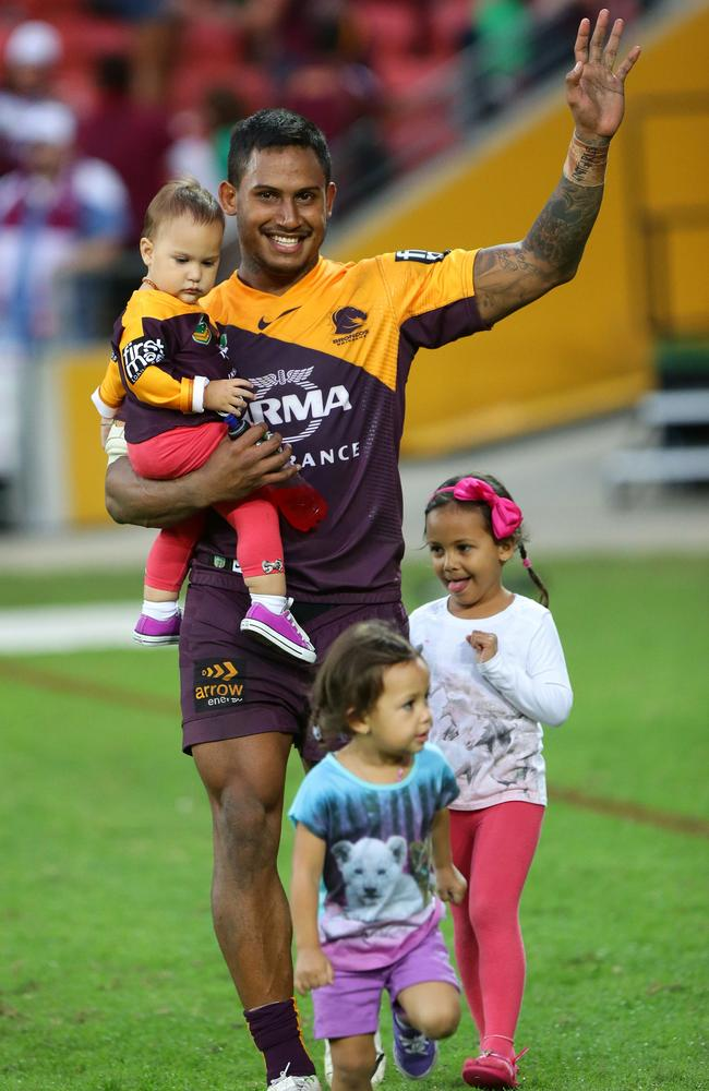 Ben Barba celebrates winning against the Sea Eagles.