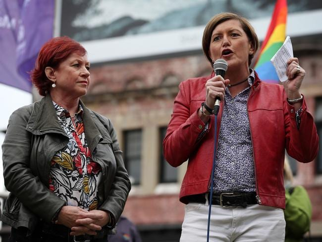 Virginia Edwards, left, is the partner of Prime Minister Tony Abbott's sister Christine Forster. Both have been rallying in support of same-sex marriage.