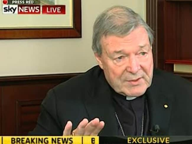 Cardinal George Pell being interviewed in Rome by Andrew Bolt, where he said he wouldn't resign from his job at the Vatican. Picture: Sky News