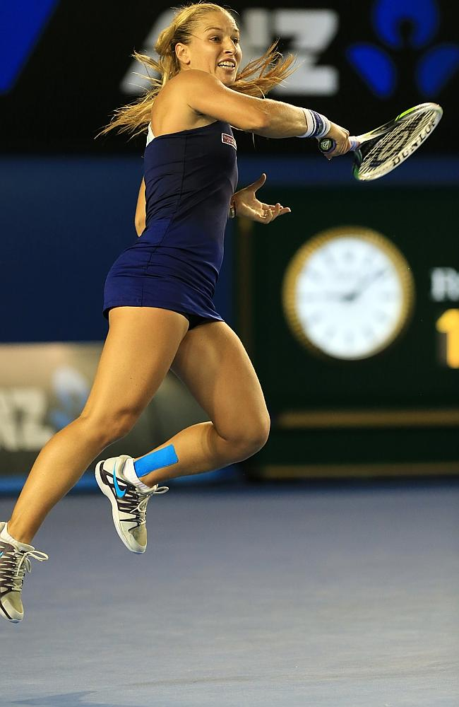 Dominika Cibulkova unleashes a forehand in the second set. Picture: Alex Coppel