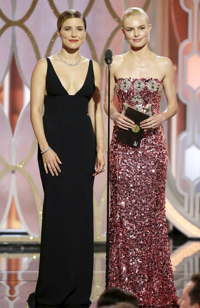 BEVERLY HILLS, CA - JANUARY 10: In this handout photo provided by NBCUniversal, Presenters Sophia Bush and Kate Bosworth speak onstage during the 73rd Annual Golden Globe Awards at The Beverly Hilton Hotel on January 10, 2016 in Beverly Hills, California. (Photo by Paul Drinkwater/NBCUniversal via Getty Images)