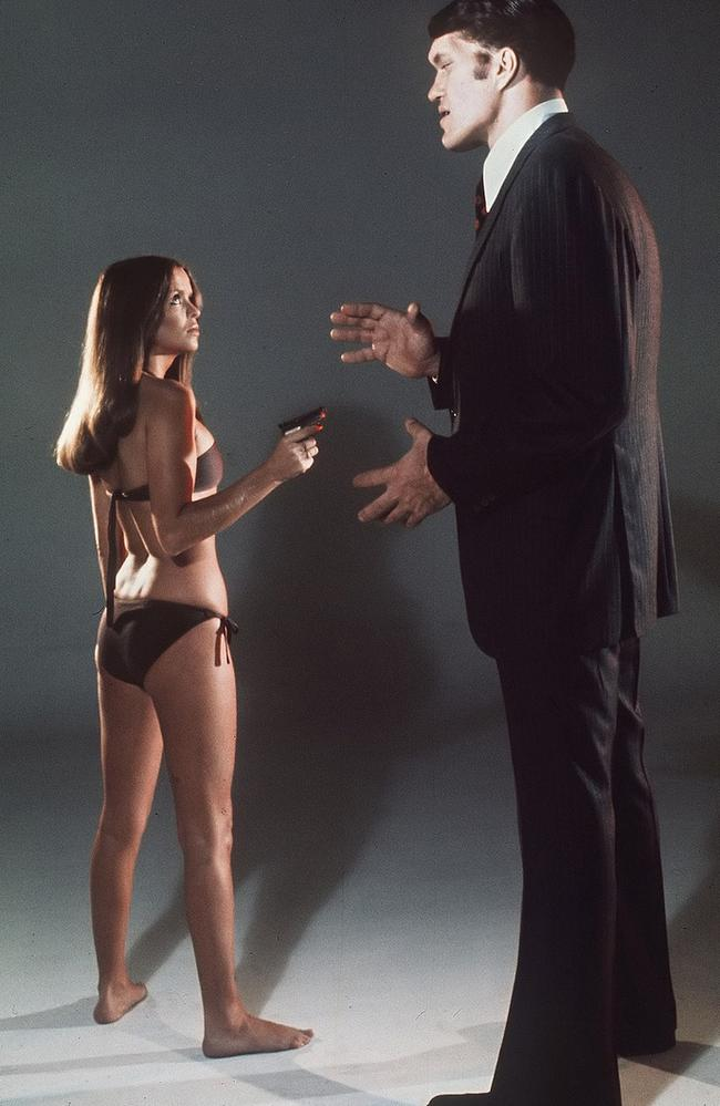 At more than 7 feet tall, Kiel towered over his co-stars, such as Bond girl Barbara Bach