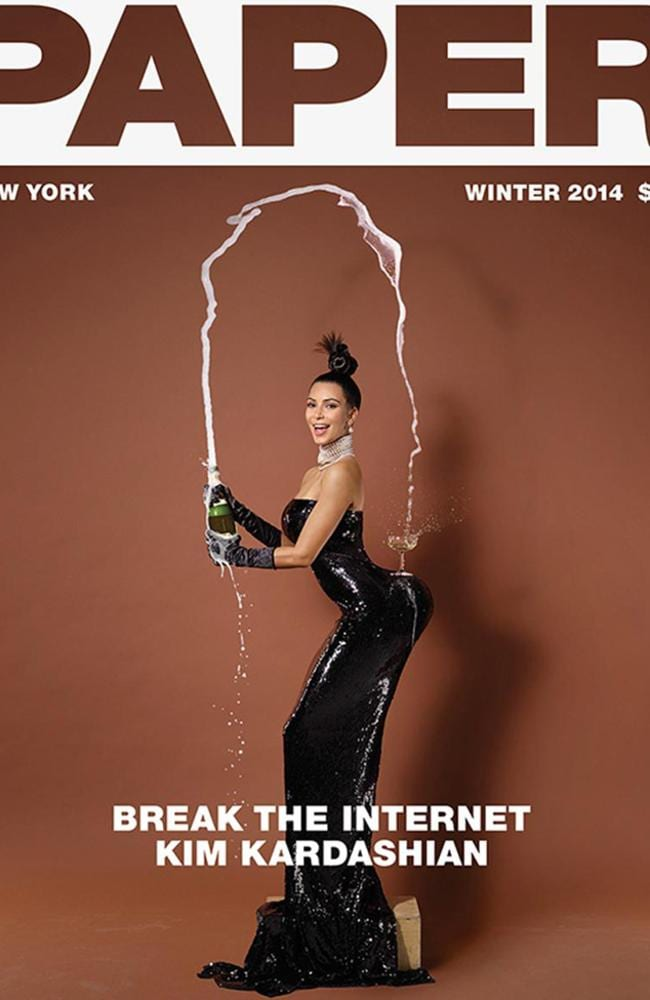 Kim K and her homebrand champers. Picture: Paper Magazine