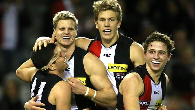 Saints Nick Riewoldt, Leigh Montagna, Rhys Stanley and Jack Billings were all smiles in the last quarter. Picture: Wayne Ludbey