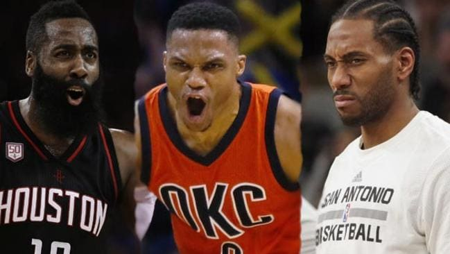 NBA MVP Candidates: James Harden, Russell Westbrook and Kawhi Leonard.