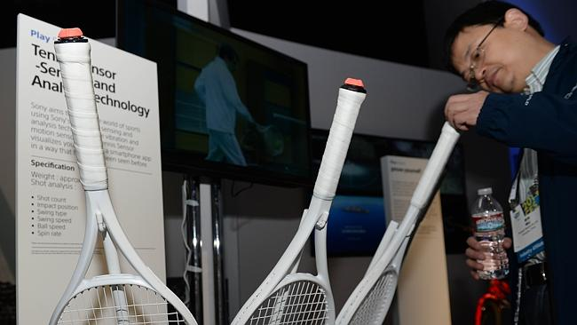 Sony tennis rackets with bluetooth has vibration and motion sensors to analyse swing, speed and spin rate and relay it to a smartphone. Picture: AFP.