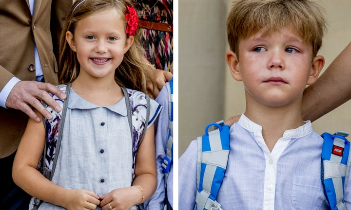 Princess Josephine and Prince Vincent show just how different children's reactions to school can be. Picture: MEGA