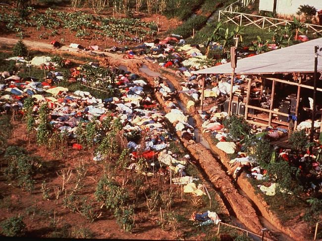 Mass suicide ... hundreds of bodies are strewn around the Jonestown Commune in Jonestown, Guyana, where more than 900 members of the People's Temple committed suicide.