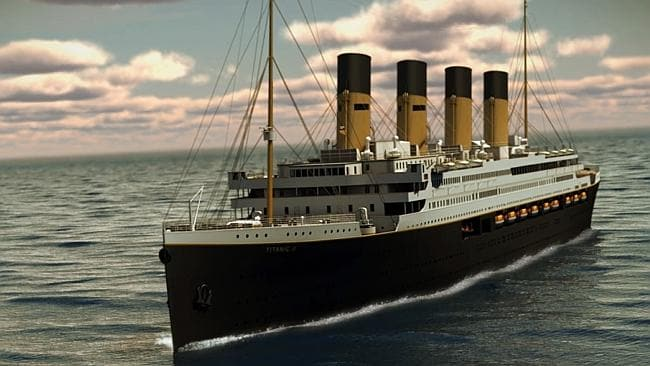 This is Clive's Titanic II as imagined cruising at sea. It may never happen.