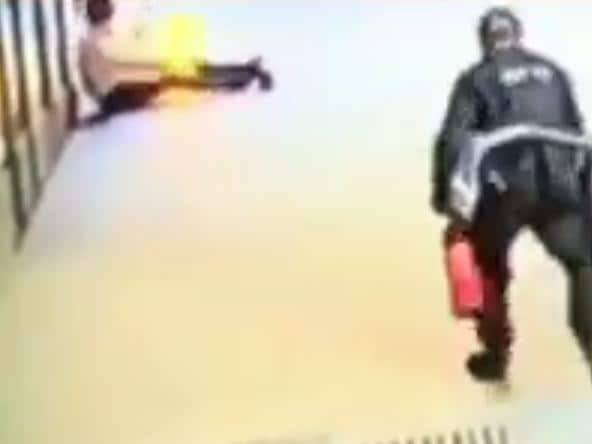 The moment a man set himself alight in the heart of Sydney's CBD has been captured on video.
