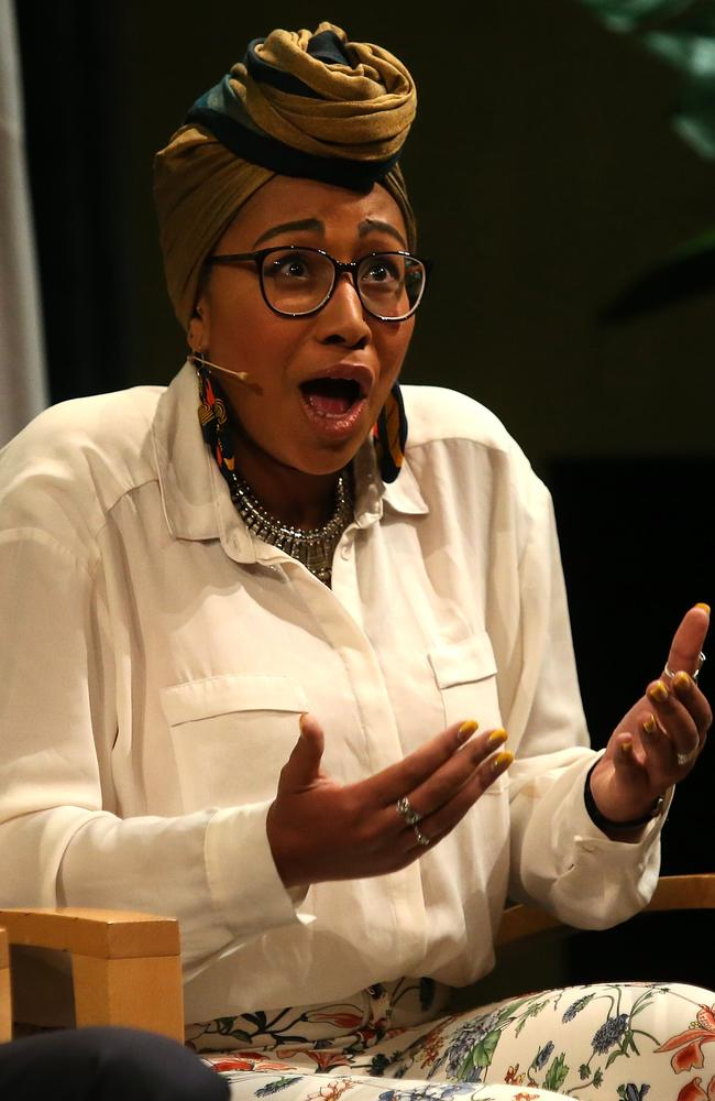 Yassmin Abdel-Magied speaking at the National Library, Canberra, in June says 'deeply racist' attacks have been made against her. Picture Kym Smith.