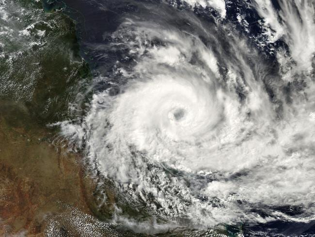 A NASA satellite image of Cyclone Debbie off the Queensland coast.