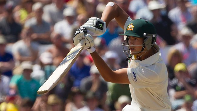 Australia's Ashton Agar drives a delivery on the second day of the first Test at Trent Bridge, Nottingham.