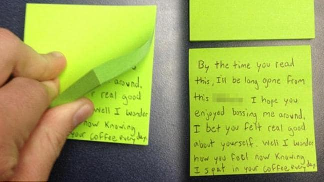 This office intern found a diabolically evil way to get revenge by leaving their message on the back of a block of Post-It notes, so it wouldn't be found until they were long gone.