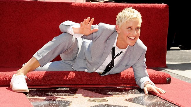 Heading our way: Ellen DeGeneres is honoured with a star on the Hollywood Walk of Fame. Picture: Getty Images