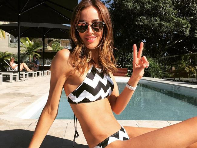 Rebecca Judd poolside in a two-piece in 2015. Picture: Instagram