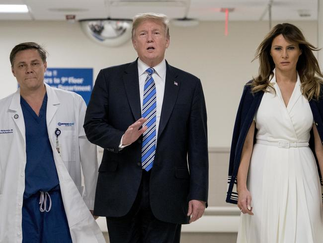 President Trump and first lady Melania with Dr. Igor Nichiporenko at Broward Health North hospital, where victims of the shooting are being treated. Picture: AP