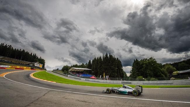 Hamilton races through Eau Rouge.