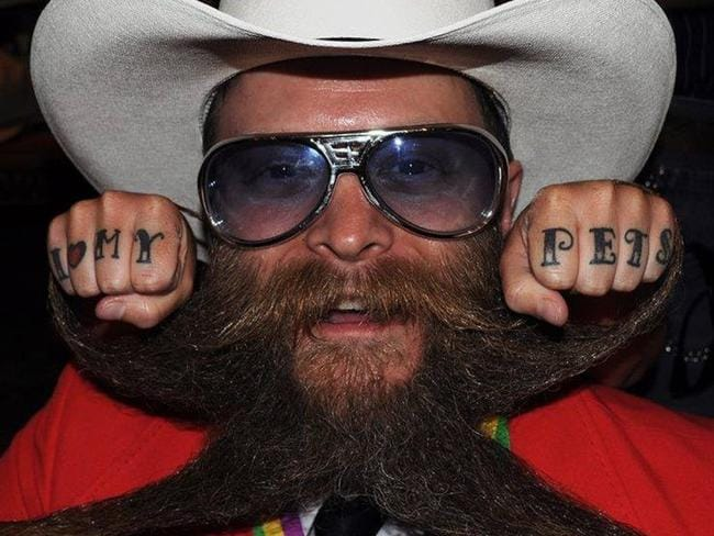 Beard controversy ... Paul Roof was photographed at a beard and moustache competition.