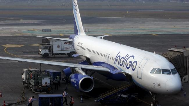 Confirmed incident ... An IndiGo Airlines Airbus A320 aircraft is pictured parked at a gate at Mumbai's Chhatrapathi Shivaji International Airport (File)