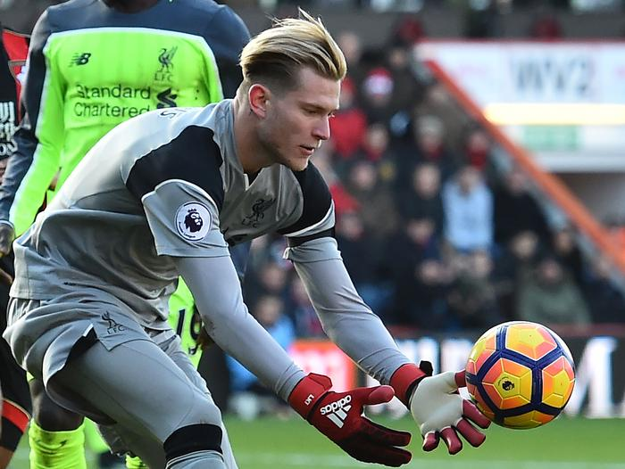 Liverpool's German goalkeeper Loris Karius gathers
