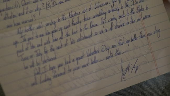 "One of the sea of letters Tim sent Danielle in his neat handwriting. ""After four letters I knew more about him then if I had dated a guy for six weeks,"" she says. Picture: Channel 9"