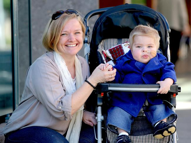 Jack Atkins, 2, pictured here with mum Anita, will be a patient at the new Lady Cilento Children's Hospital at South Brisbane when it opens. Picture: Mark Cranitch.