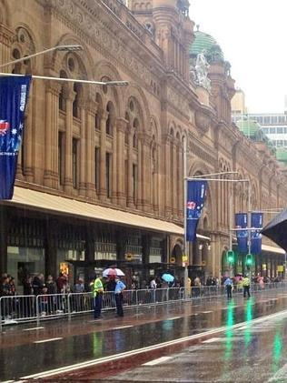 Rain failed to stop crowds gathering for the Sydney march. Picture: @AntMorrow