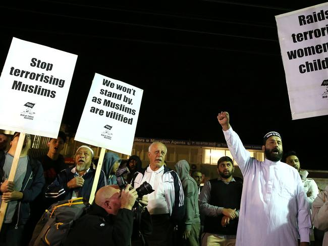 Protests ... members of Sydney's Muslim community protested against systematic police raids last night.