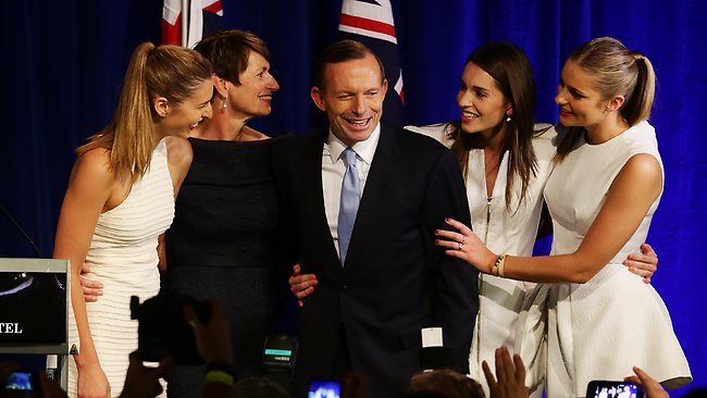 Tony Abbott celebrates victory with wife Margie and daughters Frances, Louise and Bridget. Picture: Sam Ruttyn