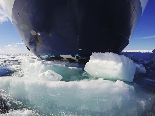The bow of the Finnish icebreaker MSV Nordica pushes down sea ice as it traverses the Arctic's Northwest Passage through the Canadian Arctic Archipelago, Friday, July 21, 2017. Picture: David Goldman