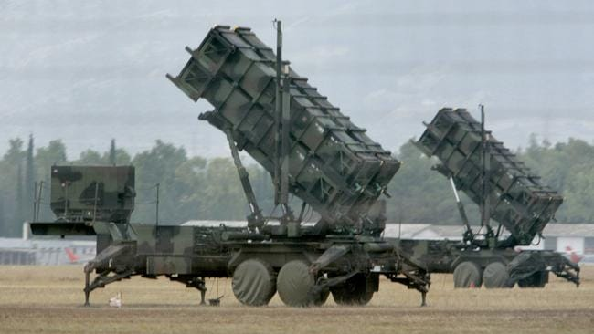 Air cover ... Patriot ground-to-air missiles are built to shoot down aircraft or other missiles.