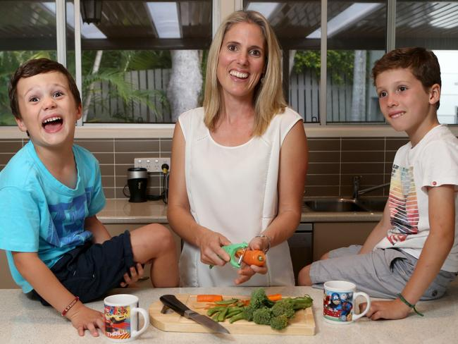 Mum Natasha Shourbaji, with kids Sebastian Croke (in white) and Lewis Croke runs a busy household and sticks to a budget to keep her finances in check.