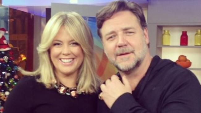 Samantha Armytage and Russell Crowe on the set of Sunrise. Picture: Instagram