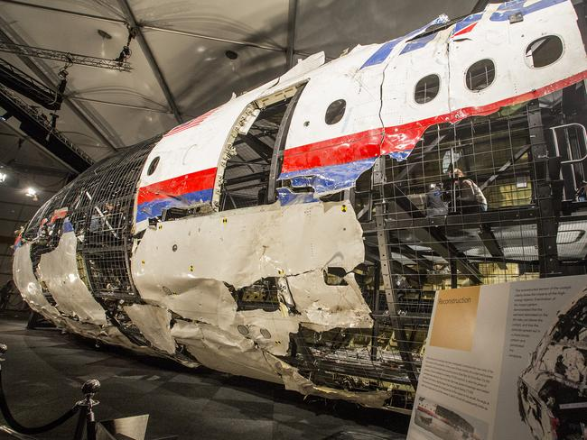 MH17 fuselage ... what remains of the plane was shown at the Gilze-Rijen air base in Holland. Picture: Ella Pellegrini