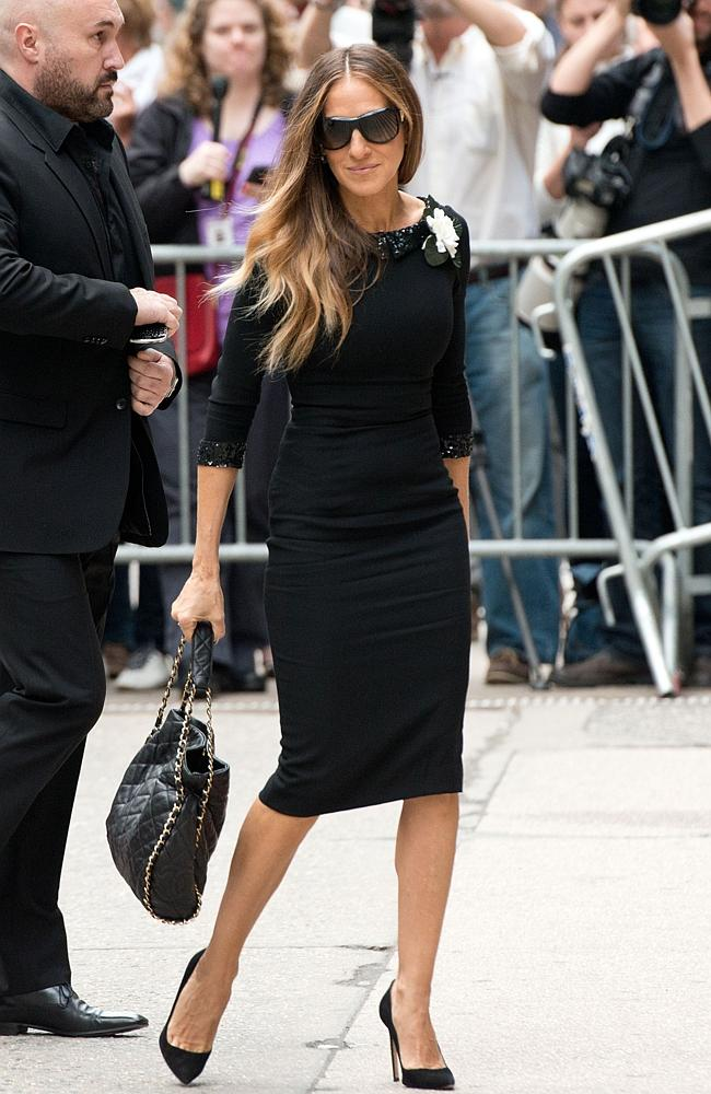 Black day ... actor Sarah Jessica Parker attends the memorial service for L'Wren Scott.