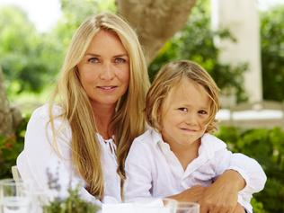 EMBARGOED TILL SUNDAY OCTOBER 2 FOR INSIDER. Fashion designer Collette Dinnigan with son Hunter in Puglia, Italy. Picture: Supplied/David Loftus for Delicious