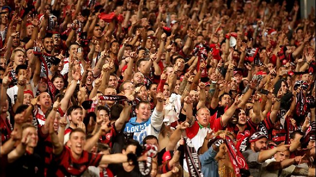 Western Sydney Wanderers fans celebrate. Picture: Gregg Porteous